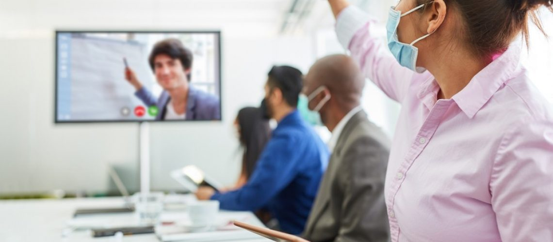 Online,Video,Training,With,Video,Conference,And,Business,Team,With